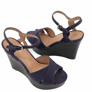 Brooks Brothers Navy Wedge Heels Size 8